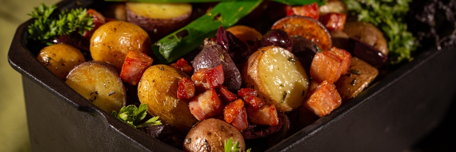Potatoes with ramps and pancetta